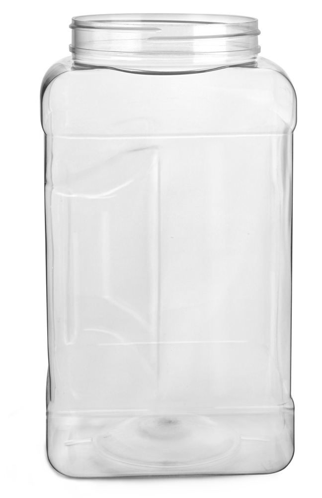 1 gal Clear PET Square Gripped Wide Mouth Jars (Bulk) Caps Not Included