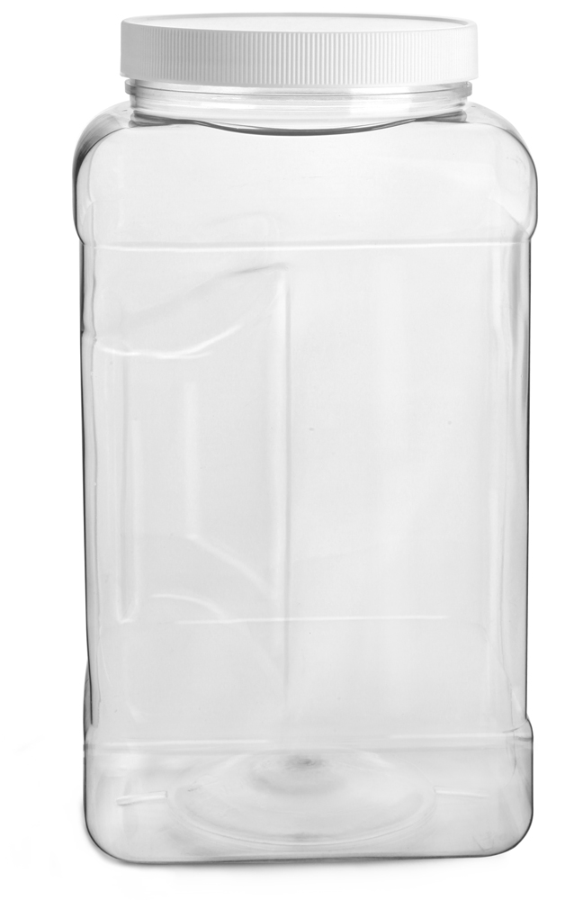 1 gal Clear PET Square Gripped Wide Mouth Jars w/ White PE Lined Caps