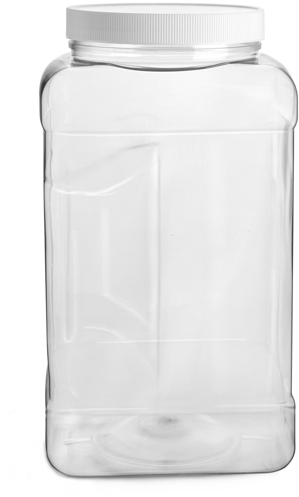 Clear PET Square Gripped Wide Mouth Jars w/ White PE Lined Caps