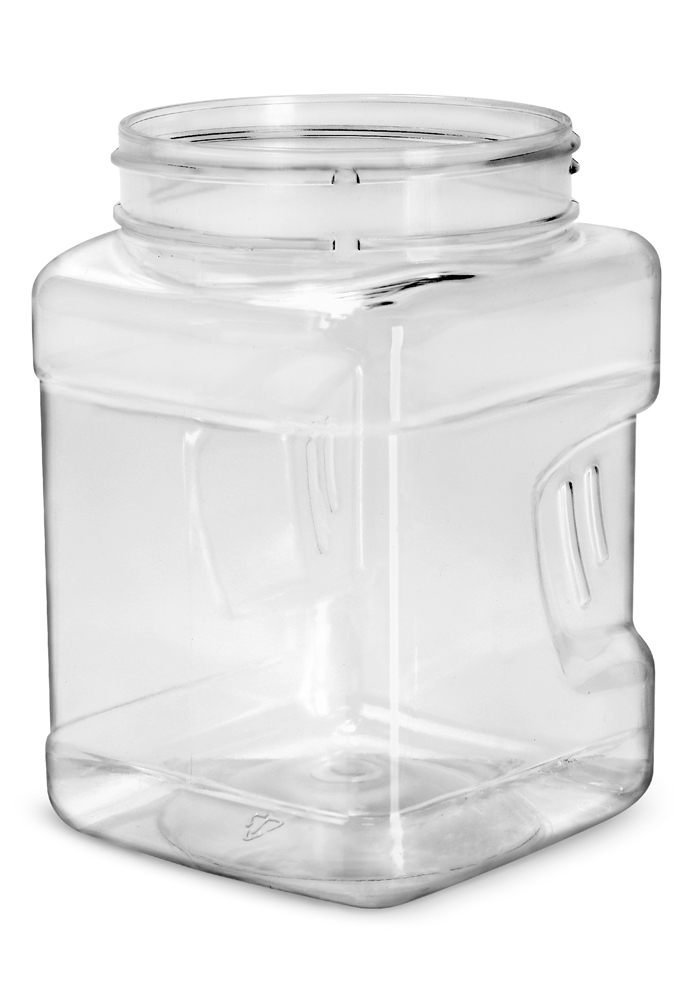 32 oz Clear PET Square Gripped Wide Mouth Jars (Bulk) Caps Not Included