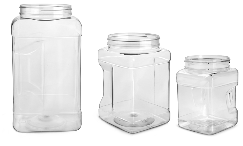 Clear PET Square Gripped Wide Mouth Jars (Bulk) Caps Not Included