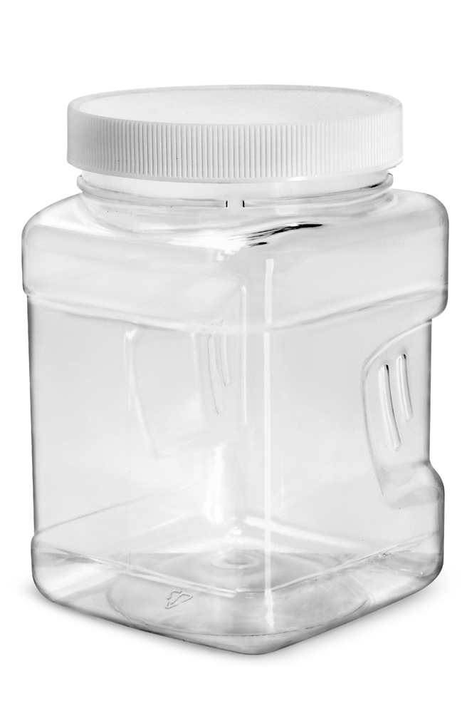 32 oz Clear Square Gripped Wide Mouth Jars w/ White PE Lined Caps
