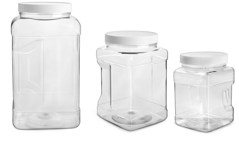 PET Plastic Jars, Clear Square Gripped Wide Mouth Jars w/ White PE Lined Caps