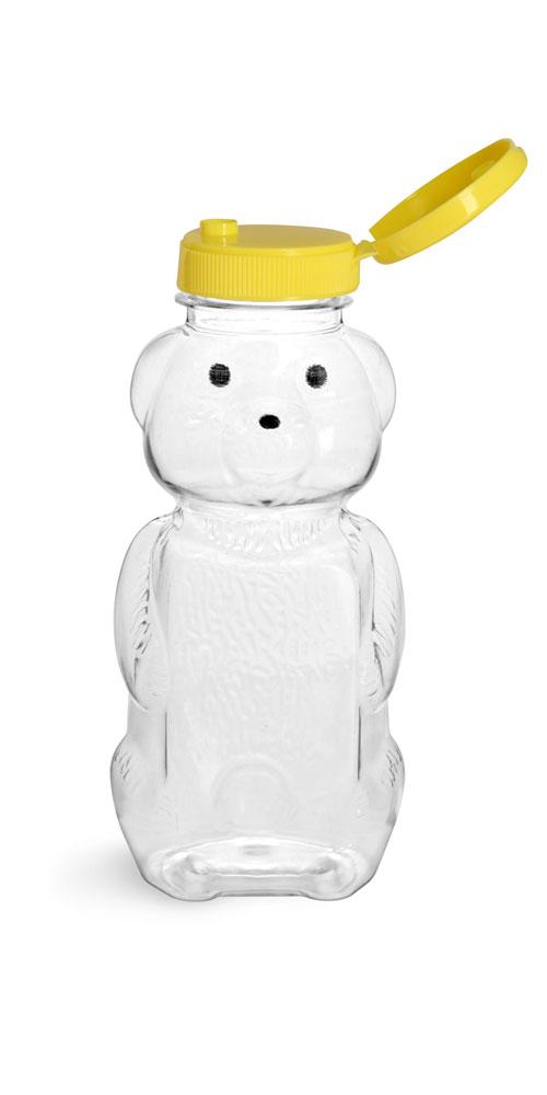 8 oz Clear PET Honey Bear Bottles w/ Yellow Snap-Top Caps