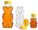 Clear PET Honey Bear Bottles w/ Yellow Lined Caps