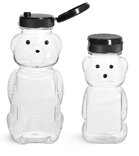 PET Plastic Bottles, Clear Honey Bear Bottles w/ Black Snap-Top Caps
