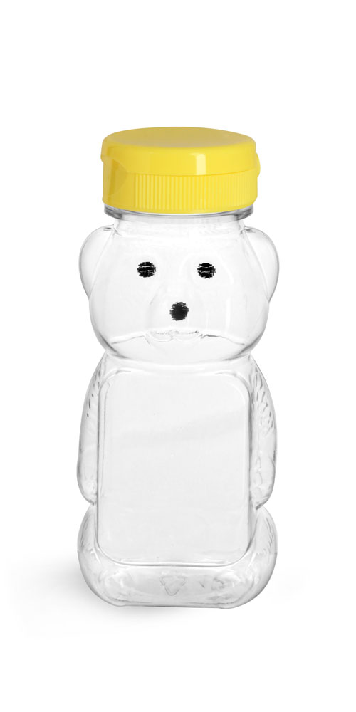 Clear PET Honey Bear Bottles w/ Yellow Snap-Top Cap