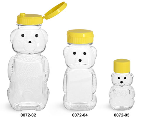 Plastic Bottles, Clear PET Honey Bear Bottles w/ Yellow Lined Caps