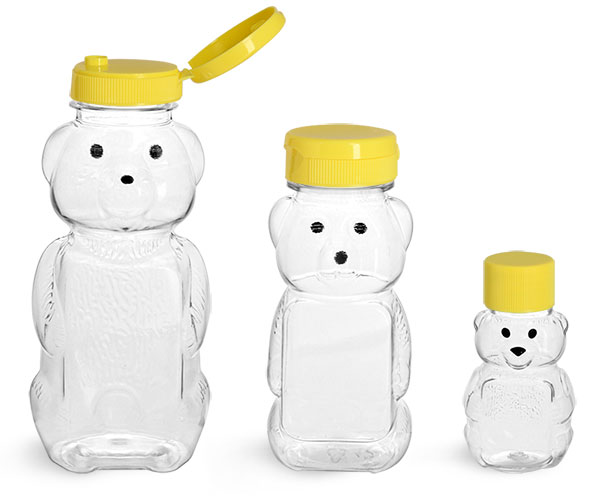 PET Plastic Bottles, Clear Honey Bear Bottles w/ Yellow Lined Caps