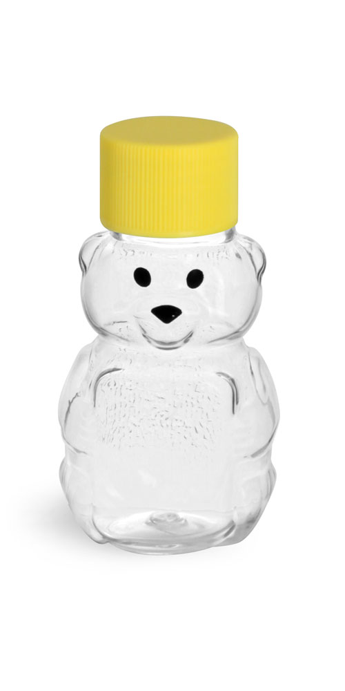 1.5 oz Clear PET Honey Bears w/ Ribbed Yellow Lined Caps