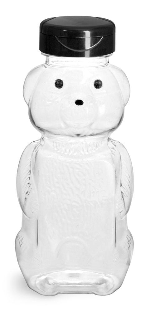 Plastic Bottles, Clear PET Honey Bear w/ Black Polypro Induction Lined Snap Top Cap