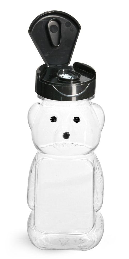 6 oz Plastic Bottles, Clear PET Honey Bear w/ Black Polypro Induction Lined Snap Top Cap