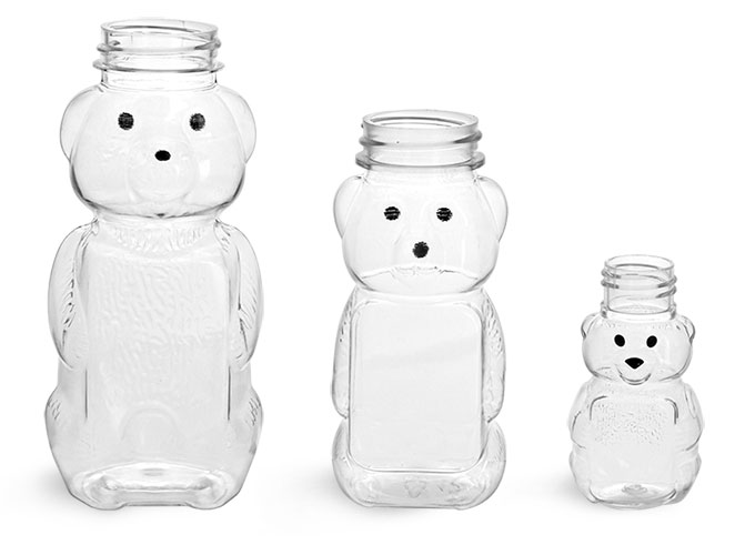 Clear PET Honey Bear Bottles (Bulk), Caps NOT Included