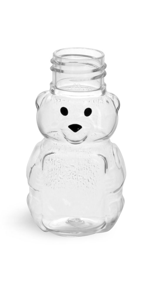 1.5 oz Clear PET Honey Bears (Bulk), Caps NOT Included