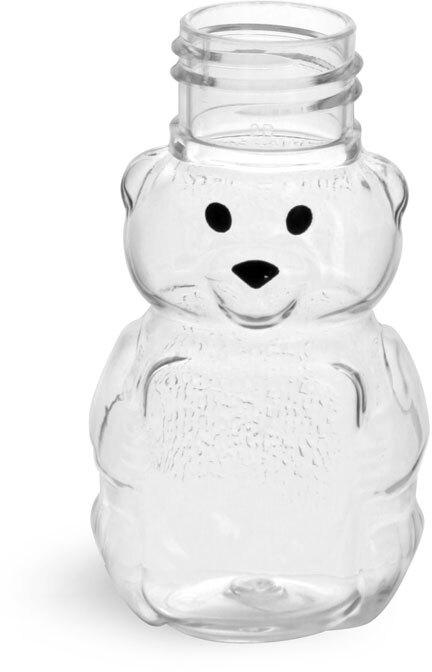 Clear PET Honey Bears (Bulk), Caps NOT Included
