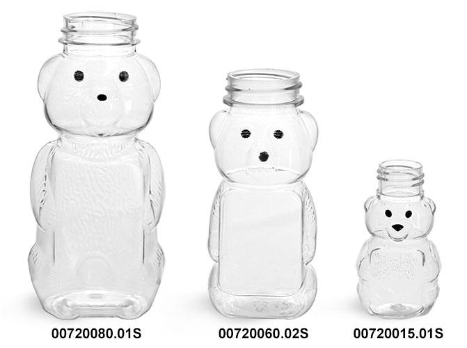 Plastic Bottles, Clear PET Honey Bear Bottles (Bulk), Caps NOT Included