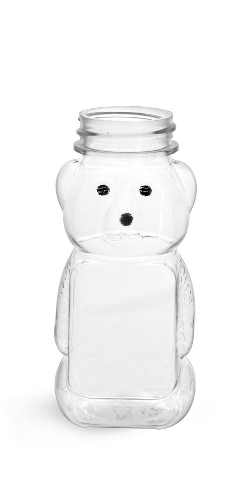 6 oz Clear PET Honey Bear Bottles (Bulk), Caps NOT Included