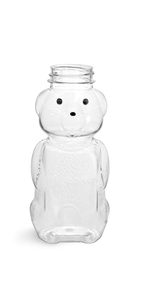 8 oz Clear PET Honey Bear Bottles (Bulk), Caps NOT Included