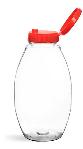 Plastic Bottles, Clear PET Inverted Ovals w/ Lined Red Snap Top Caps