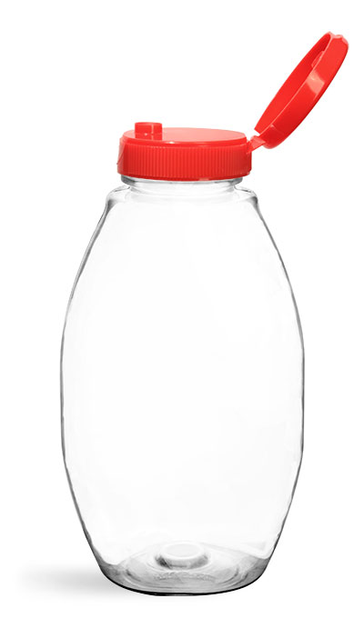 PET Plastic Bottles, Clear Inverted Ovals w/ Lined Red Snap Top Caps