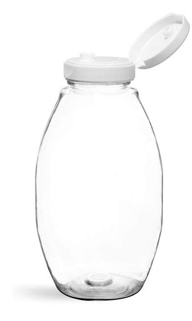 PET Plastic Bottles, Clear Inverted Ovals w/ White Lined Snap Top Caps