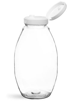 Plastic Bottles, Clear PET Inverted Ovals w/ White Lined Snap Top Caps