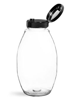 Plastic Bottles, Clear PET Inverted Ovals w/ Black Lined Snap Top Caps