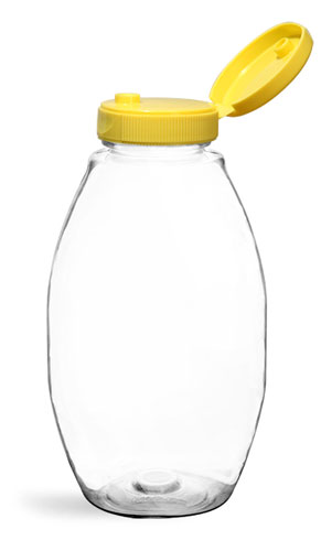 Plastic Bottles, Clear PET Inverted Ovals w/ Yellow Lined Snap Top Caps