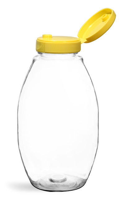 PET Plastic Bottles, Clear Inverted Ovals w/ Yellow Lined Snap Top Caps
