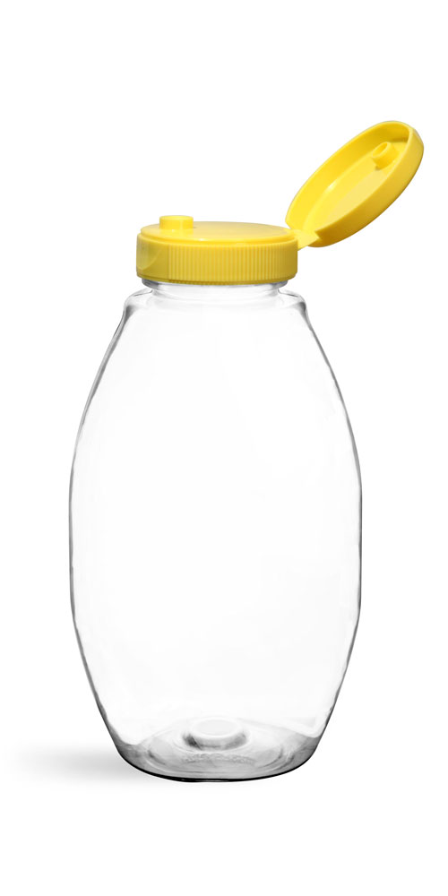 12 oz Plastic Bottles, Clear PET Inverted Ovals w/ Yellow Lined Snap Top Caps