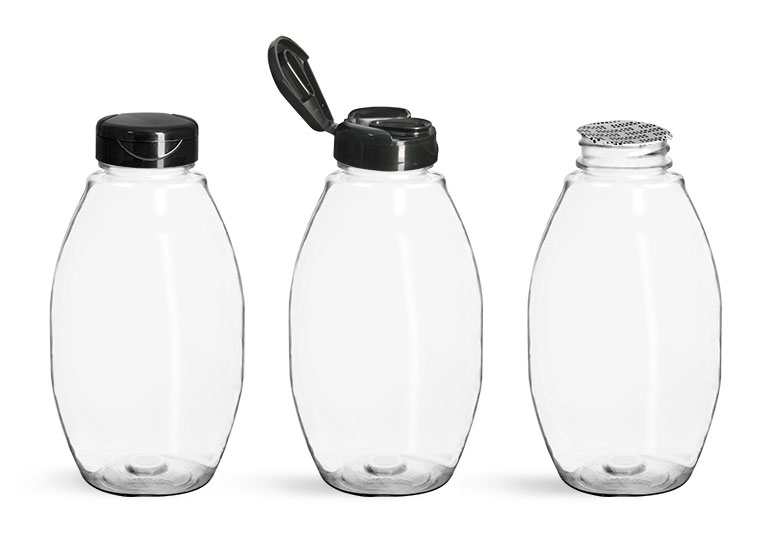 PET Plastic Bottles, Clear Inverted Oval w/ Black Polypro Induction Lined Snap Top Caps