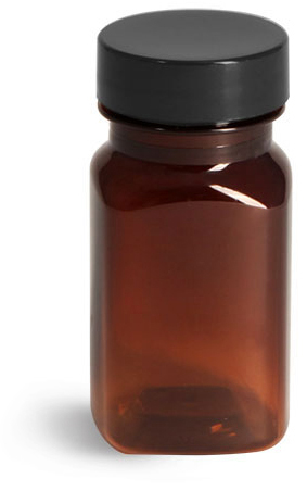Plastic Bottles, Amber PET Square Bottles w/ Smooth Black PE Lined Caps