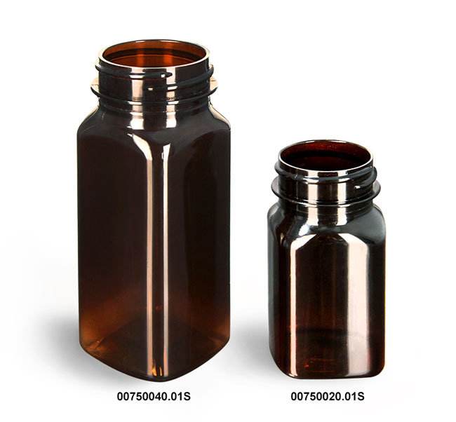 Plastic Bottles, Amber PET Square Bottles