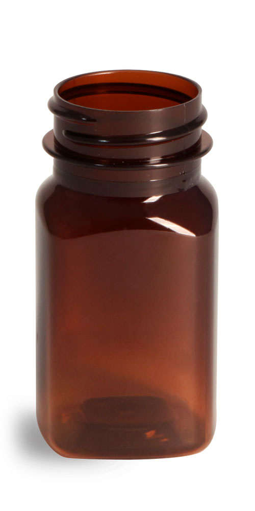 2 oz Plastic Bottles, Amber PET Square Bottles