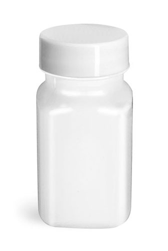 PET Plastic Bottles, White Square Bottles w/ Smooth White F217 Lined Caps