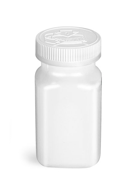 PET Plastic Bottles, White Square Bottles w/ White F217 Lined Child Resistant Caps