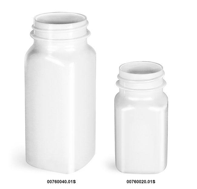 Plastic Bottles, White PET Square Bottles, (Bulk) Caps Not Included