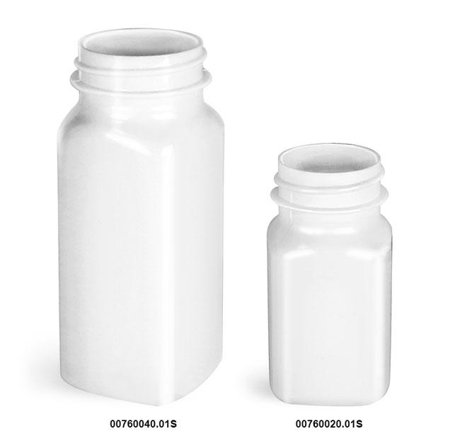 Plastic Bottles, White PET Square Bottles, (Bulk) Caps Not Included