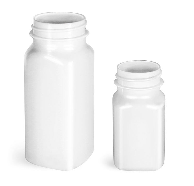 Plastic Bottles, White PET Square Bottles