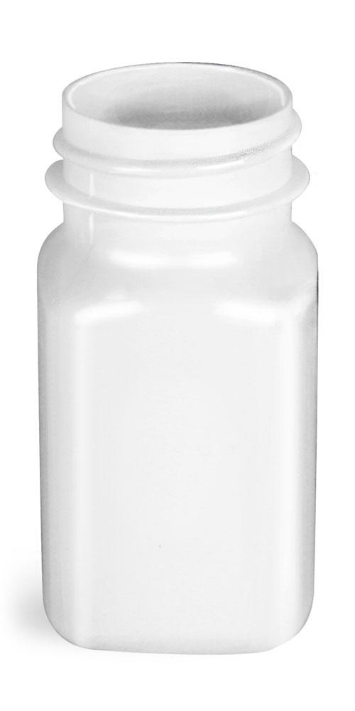 2 oz White PET Square Bottles, (Bulk) Caps Not Included