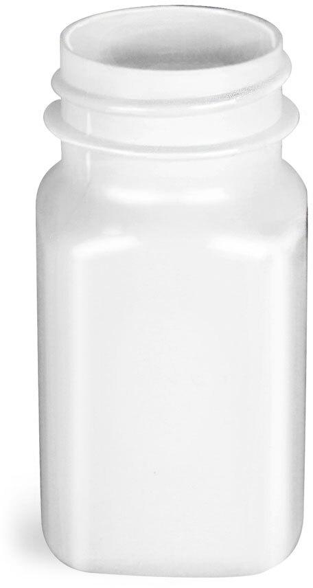 White PET Square Bottles, (Bulk) Caps Not Included