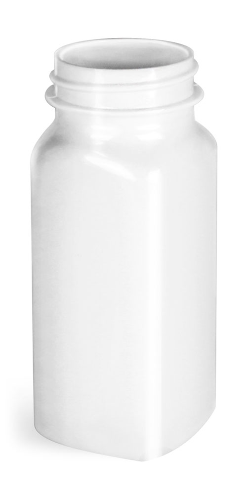4 oz White PET Square Bottles, (Bulk) Caps Not Included