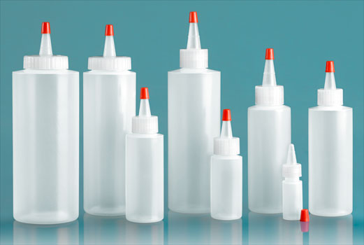 Plastic Bottles, Natural LDPE Cylinders w/ Long Tip Spout with Red Tip, Tips Have .030 Orifice Hole