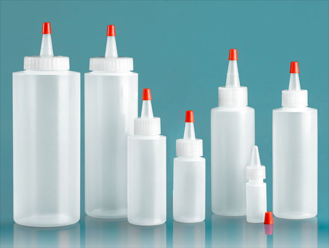LDPE Plastic Bottles, Natural Cylinder Bottles w/ Long Tip Spout with Red Tip