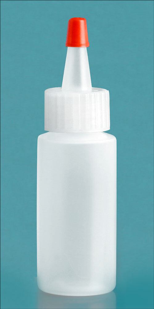 Natural LDPE Cylinders w/ Long Tip Spout with Red Tip