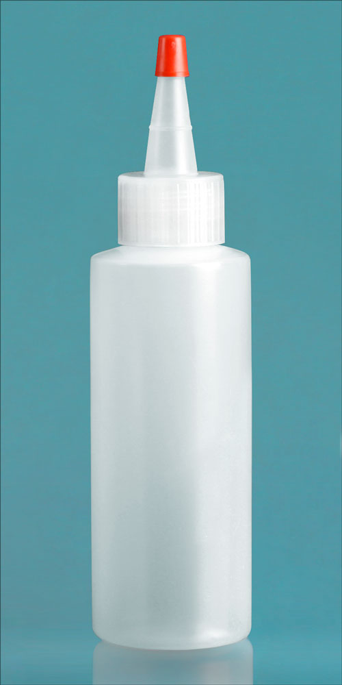 4 oz Natural LDPE Cylinders w/ Long Tip Spout with Red Tip