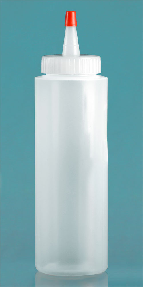8 oz Natural LDPE Cylinders w/ Long Tip Spout with Red Tip