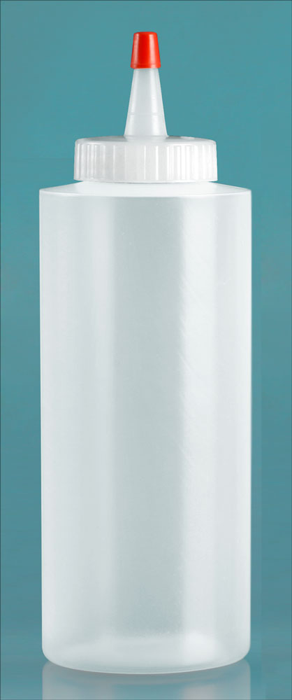 12 oz Natural LDPE Cylinders w/ Long Tip Spout with Red Tip
