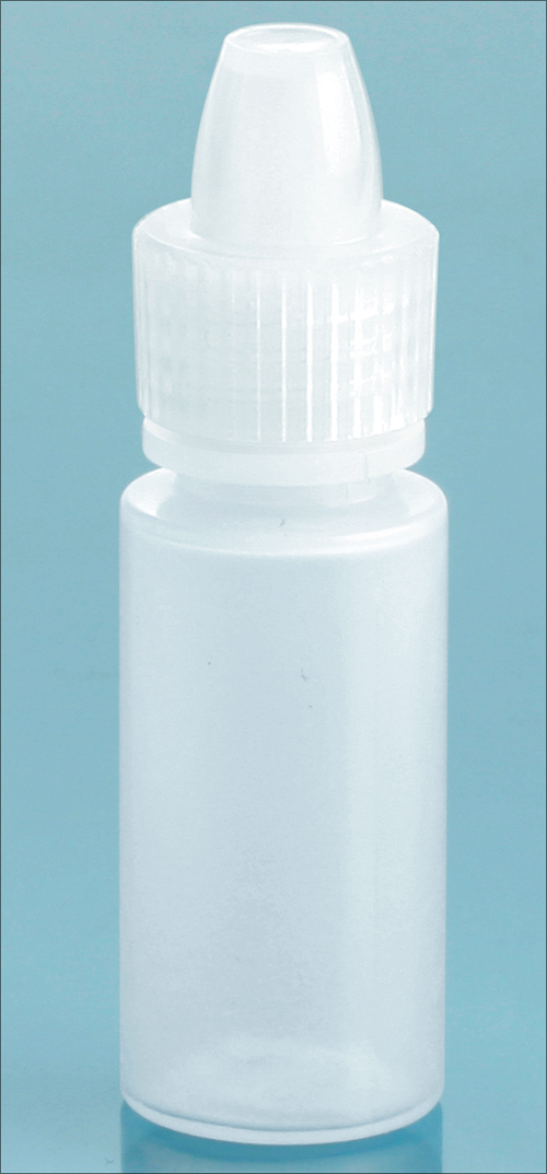 6 cc Natural LDPE Dropper Bottles w/ Natural Ribbed Caps & Controlled Dropper Tip Inserts