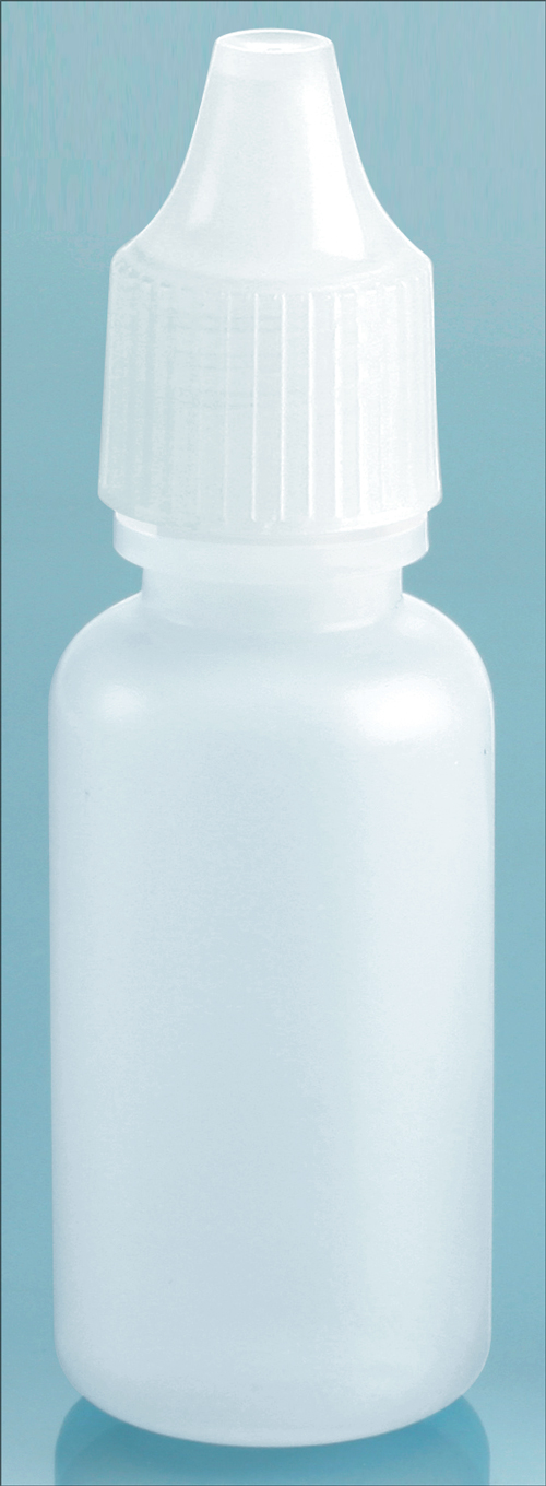 15 cc Natural LDPE Dropper Bottles w/ Natural Ribbed Caps & Controlled Dropper Tip Inserts